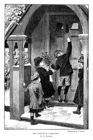 19th century engraving of children 'The Christmas Carollers'; Artist Robert Barnes, engraver Joseph Swain; Victorian Christmas 1890
