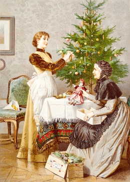 Mother and daughter prepare the Christmas tree