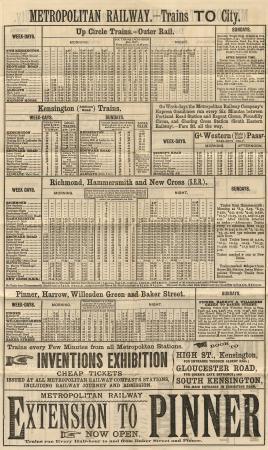 Metropolitan Railway Timetable 1885